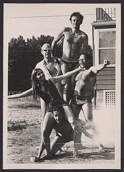 Robert Rauschenberg with friends after swimming