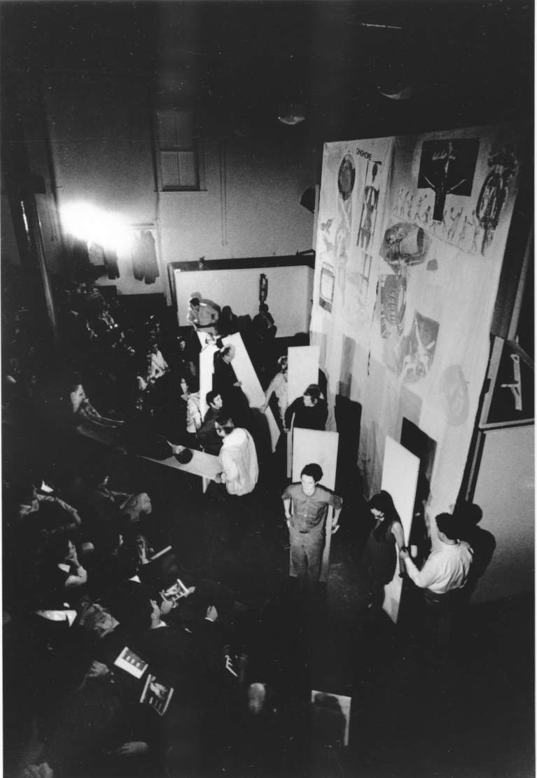 Black and White Photo of Performance Piece in Rauschenberg's Gallery
