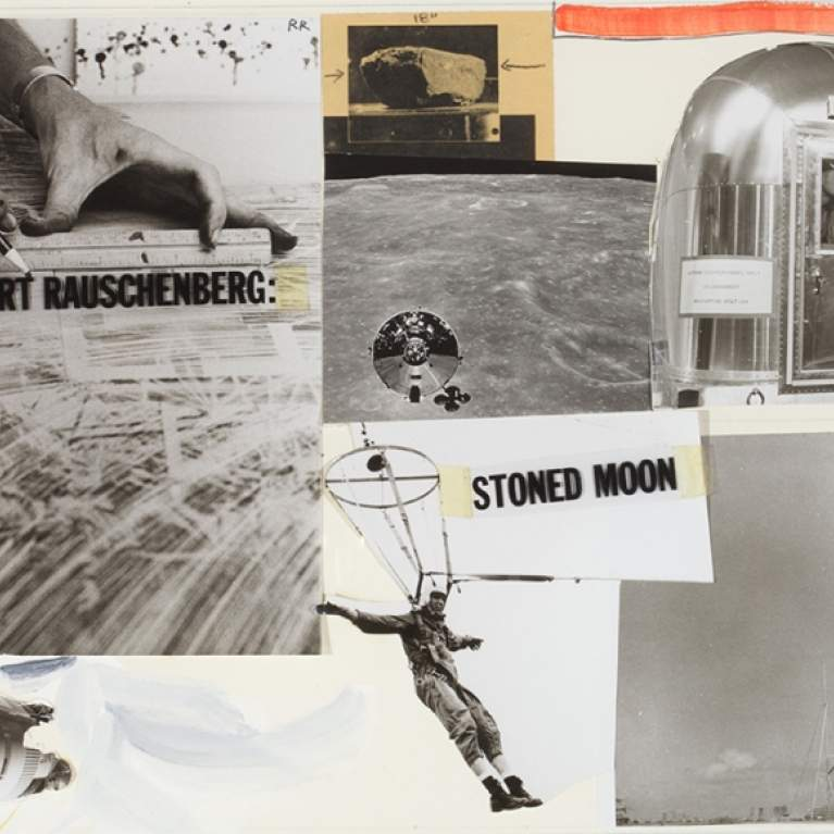 Cover Page, Stoned Moon Book, 1970 Collage of photographs, watercolor, press type, acetate, graphite, and colored pencil on illustration board